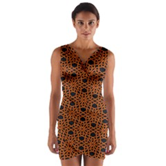 Triangle Knot Orange And Black Fabric Wrap Front Bodycon Dress