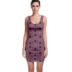 Triangle Knot Pink And Black Fabric Sleeveless Bodycon Dress
