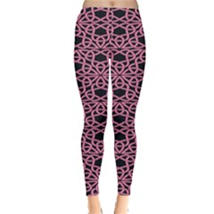 Triangle Knot Pink And Black Fabric Leggings
