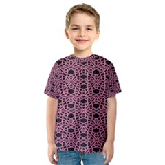 Triangle Knot Pink And Black Fabric Kids  Sport Mesh Tee