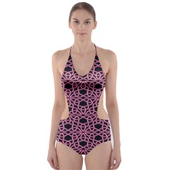 Triangle Knot Pink And Black Fabric Cut-Out One Piece Swimsuit