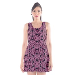 Triangle Knot Pink And Black Fabric Scoop Neck Skater Dress