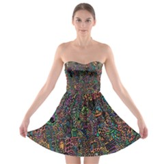 Trees Internet Multicolor Psychedelic Reddit Detailed Colors Strapless Bra Top Dress