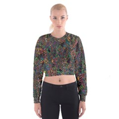 Trees Internet Multicolor Psychedelic Reddit Detailed Colors Women s Cropped Sweatshirt