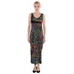Trees Internet Multicolor Psychedelic Reddit Detailed Colors Fitted Maxi Dress