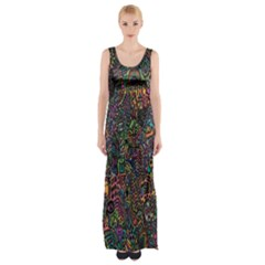Trees Internet Multicolor Psychedelic Reddit Detailed Colors Maxi Thigh Split Dress