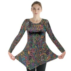 Trees Internet Multicolor Psychedelic Reddit Detailed Colors Long Sleeve Tunic
