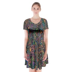 Trees Internet Multicolor Psychedelic Reddit Detailed Colors Short Sleeve V-neck Flare Dress