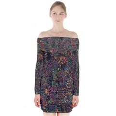 Trees Internet Multicolor Psychedelic Reddit Detailed Colors Long Sleeve Off Shoulder Dress
