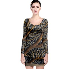 Trees Forests Pattern Long Sleeve Bodycon Dress