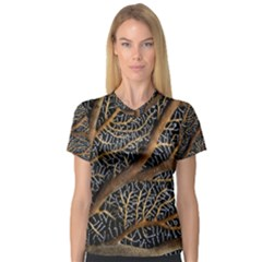 Trees Forests Pattern Women s V-Neck Sport Mesh Tee