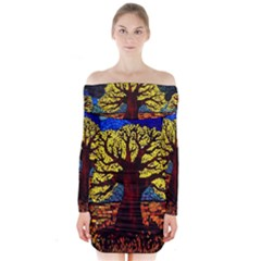 Tree Of Life Long Sleeve Off Shoulder Dress