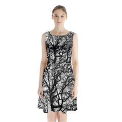 Tree Fractal Sleeveless Chiffon Waist Tie Dress