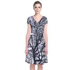 Tree Fractal Short Sleeve Front Wrap Dress