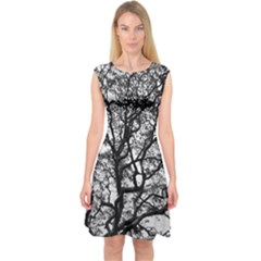 Tree Fractal Capsleeve Midi Dress