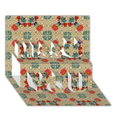 Traditional Scandinavian Pattern Miss You 3D Greeting Card (7x5)