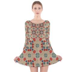 Traditional Scandinavian Pattern Long Sleeve Velvet Skater Dress