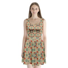 Traditional Scandinavian Pattern Split Back Mini Dress