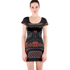 Traditional Northwest Coast Native Art Short Sleeve Bodycon Dress