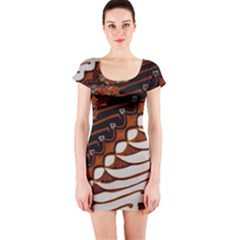 Traditional Batik Sarong Short Sleeve Bodycon Dress