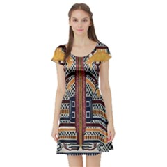Traditional Batik Indonesia Pattern Short Sleeve Skater Dress