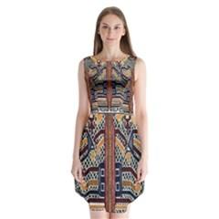Traditional Batik Indonesia Pattern Sleeveless Chiffon Dress