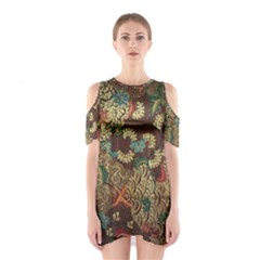 Traditional Batik Art Pattern Cutout Shoulder Dress