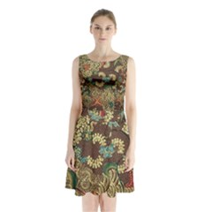 Traditional Batik Art Pattern Sleeveless Chiffon Waist Tie Dress