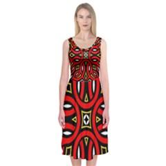 Traditional Art Pattern Midi Sleeveless Dress