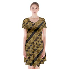 Traditional Art Indonesian Batik Short Sleeve V-neck Flare Dress