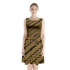 Traditional Art Indonesian Batik Sleeveless Chiffon Waist Tie Dress