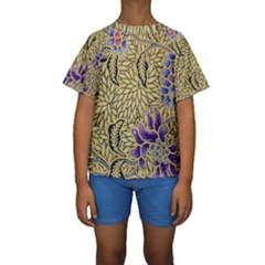 Traditional Art Batik Pattern Kids  Short Sleeve Swimwear