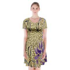 Traditional Art Batik Pattern Short Sleeve V-neck Flare Dress