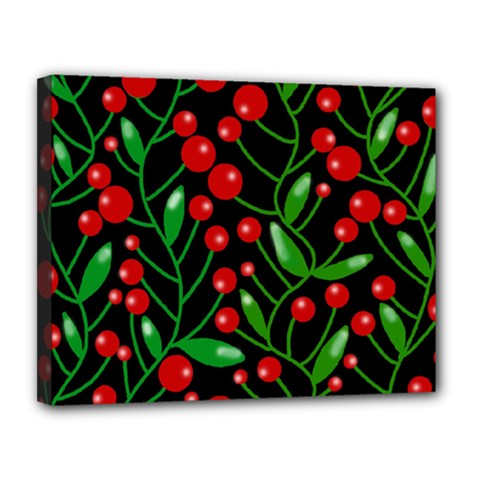 Red Christmas berries Canvas 14  x 11