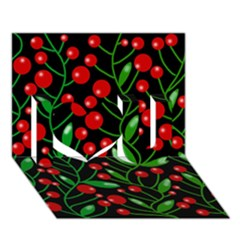 Red Christmas berries I Love You 3D Greeting Card (7x5)