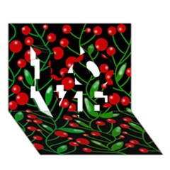 Red Christmas Berries Love 3d Greeting Card (7x5)