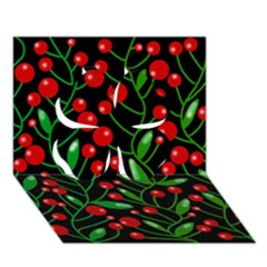 Red Christmas berries Clover 3D Greeting Card (7x5)