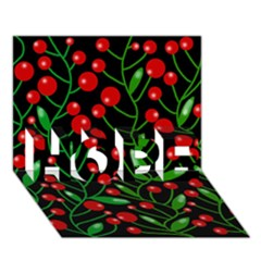 Red Christmas berries HOPE 3D Greeting Card (7x5)