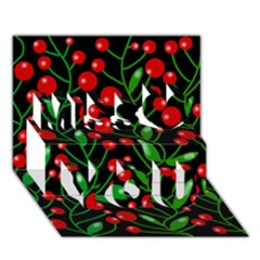 Red Christmas berries Miss You 3D Greeting Card (7x5)