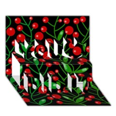 Red Christmas berries You Did It 3D Greeting Card (7x5)