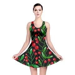 Red Christmas berries Reversible Skater Dress