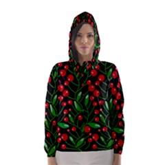 Red Christmas berries Hooded Wind Breaker (Women)