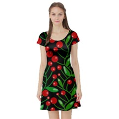 Red Christmas berries Short Sleeve Skater Dress