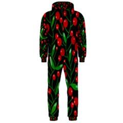 Red Christmas berries Hooded Jumpsuit (Men)