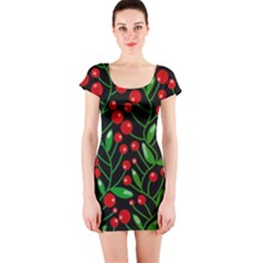 Red Christmas berries Short Sleeve Bodycon Dress