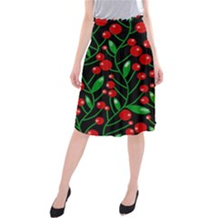 Red Christmas berries Midi Beach Skirt