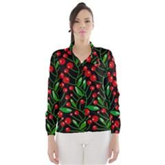 Red Christmas berries Wind Breaker (Women)