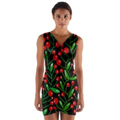 Red Christmas berries Wrap Front Bodycon Dress