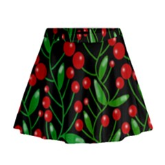 Red Christmas berries Mini Flare Skirt