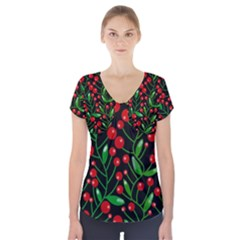 Red Christmas Berries Short Sleeve Front Detail Top